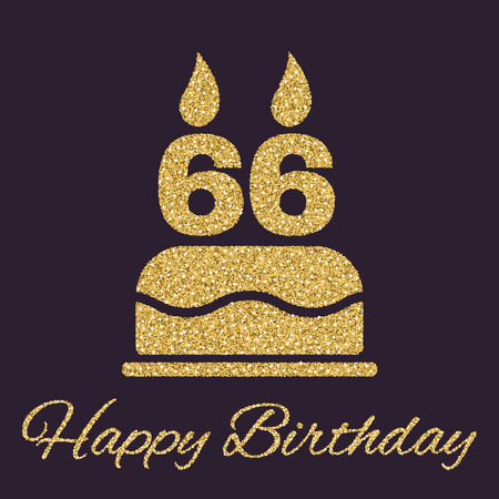 The birthday cake with candles in the form of number 66 icon. Birthday symbol. Gold sparkles and glitter Vector illustration
