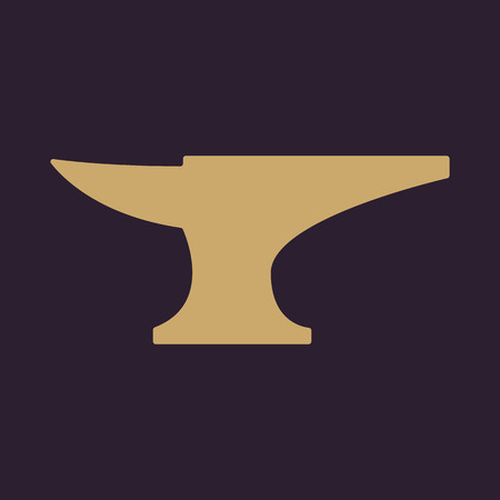 forge: The anvil icon. Smith and forge, blacksmith symbol. Flat Vector illustration