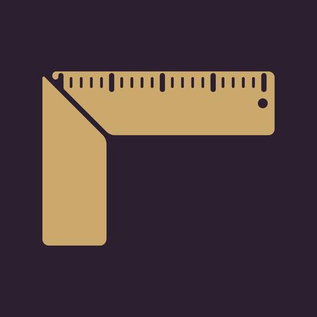 plotting: The setsquare icon. Building square symbol. Flat Vector illustration