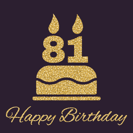 81: The birthday cake with candles in the form of number 81 icon. Birthday symbol. Gold sparkles and glitter Vector illustration Illustration