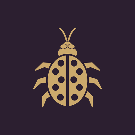 The ladybug icon. Ladybird and bug, beetle symbol. Flat Vector illustration
