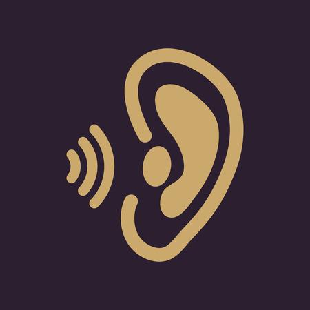audition: The ear icon. Sense organ and hear, understand symbol. Flat Vector illustration