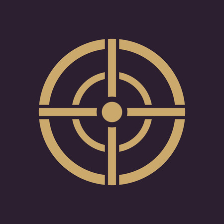 sniper: The aim bag icon. Crosshair and target, sight, sniper symbol. Flat Vector illustration. Button Set Illustration