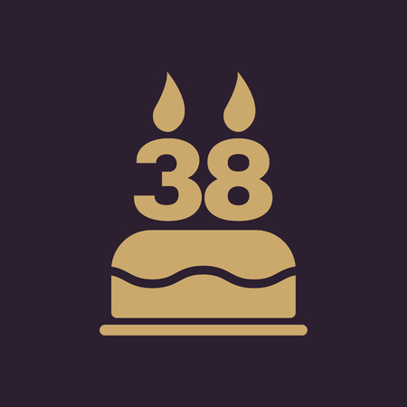 The birthday cake with candles in the form of number 38 icon. Birthday symbol. Flat Vector illustration Illustration
