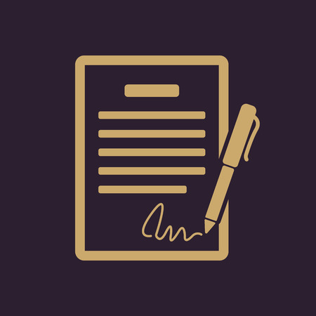 convention: The contract icon. Agreement and signature, pact, accord, convention symbol. Flat Vector illustration