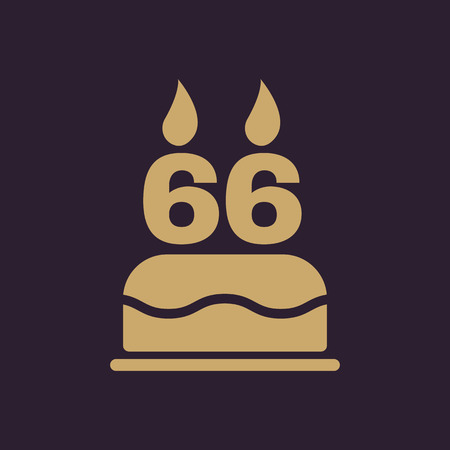 The birthday cake with candles in the form of number 66 icon. Birthday symbol. Flat Vector illustration
