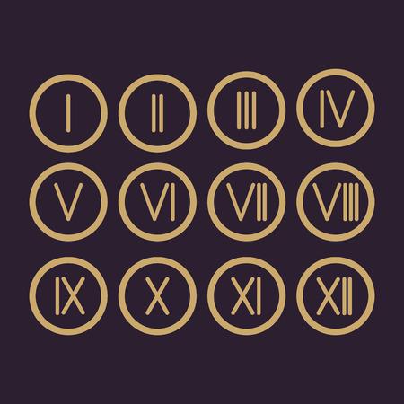 De set Romeinse cijfers 1-12 icoon. vector