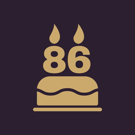 The birthday cake with candles in the form of number 86 icon. Birthday symbol. Flat Vector illustration
