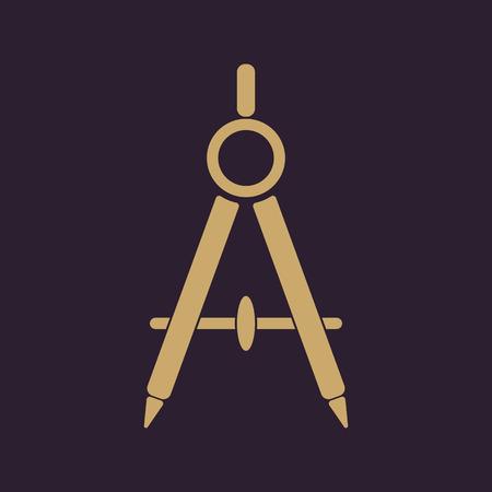 topografo: El icono del divisor. Surveyor y la geometría, ingeniero, arquitecto, símbolo de la escuela. Ilustración del vector plana