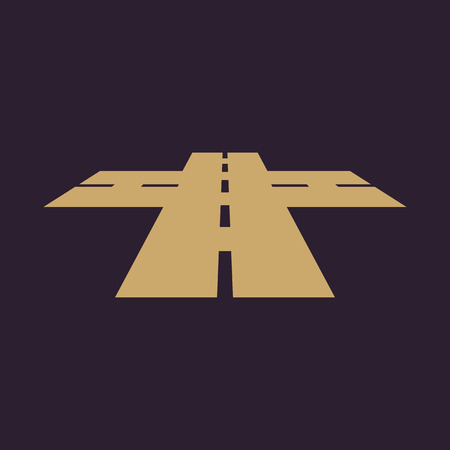 intersection: The crossroads icon. Crossway and crossing, intersection, road,  route symbol. Flat Vector illustration