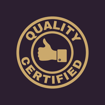 approval icon: The certified quality and thumbs up icon.  Approval, approbation, certification, accepted symbol. Flat Vector illustration