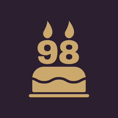 The birthday cake with candles in the form of number 98 icon. Birthday symbol. Flat Vector illustration