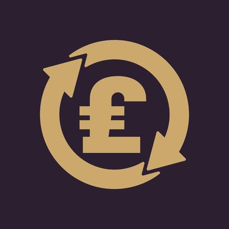 pound sterling: El icono de la libra esterlina de cambio de divisa. Dinero en efectivo y el dinero, la riqueza, símbolo de pago. Ilustración vectorial Flat