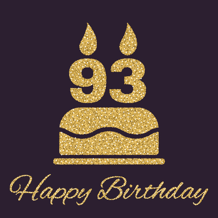 The birthday cake with candles in the form of number 93 icon. Birthday symbol. Gold sparkles and glitter Vector illustration Illustration