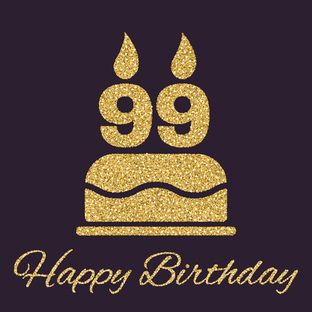 99: The birthday cake with candles in the form of number 99 icon. Birthday symbol. Gold sparkles and glitter Vector illustration