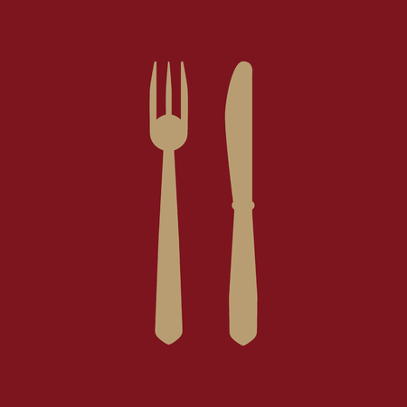 The knife and fork icon. Knife and fork symbol. Flat Vector illustration. Set