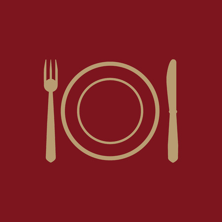 The Plate dish with fork and knife icon. Plate dish with fork and knife symbol. Flat Vector illustration Illustration