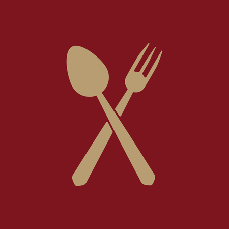 The spoon and fork icon. Spoon and fork symbol. Flat Vector illustration