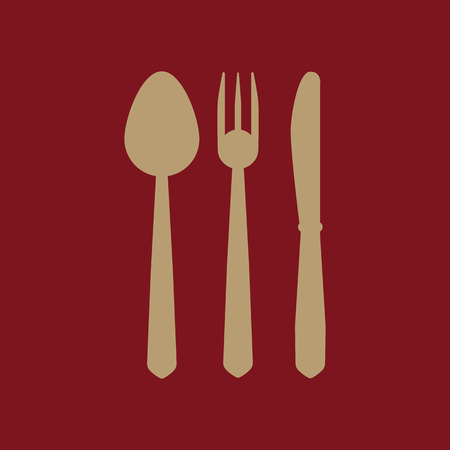 The spoon and fork and knife icon. Spoon and fork and knife  symbol. Flat Vector illustration. Set Illustration