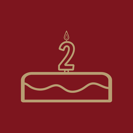Cake with candles in the form of number 2 icon. birthday symbol. Flat Vector illustration Illustration
