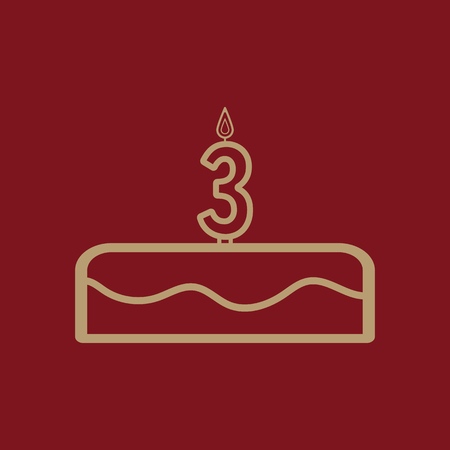 Cake with candles in the form of number 3 icon. birthday symbol. Flat Vector illustration