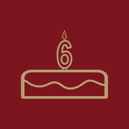 Cake with candles in the form of number 6 icon. birthday symbol. Flat Vector illustration