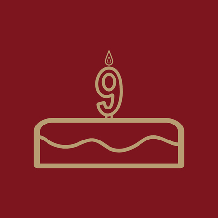 Cake with candles in the form of number 9 icon. birthday symbol. Flat Vector illustration