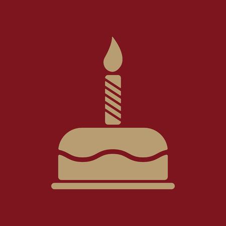 The birthday cake with candles icon. Dessert symbol. Flat Vector illustration Illustration