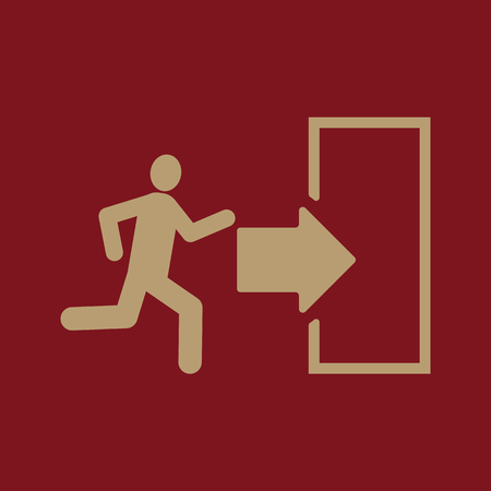 exit: The exit icon. Emergency Exit symbol. Flat Vector illustration