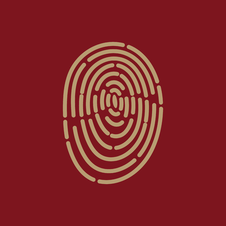 The fingerprint icon. ID symbol. Flat Vector illustration