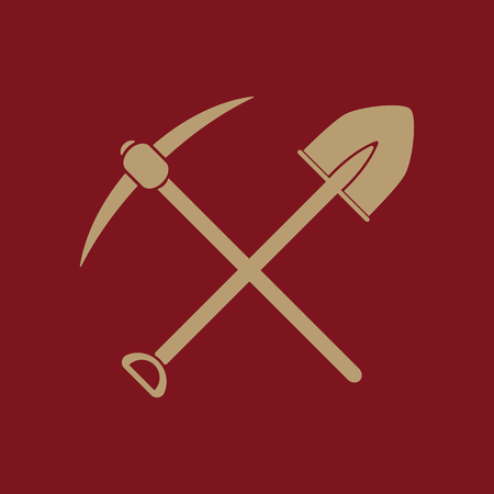 excavation: The crossing spade pickax icon. Pickax and excavation, digging, mining symbol. Flat Vector illustration