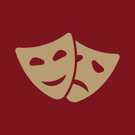 moods: The theater and mask icon. Drama, comedy, tragedy symbol. Flat Vector illustration Illustration