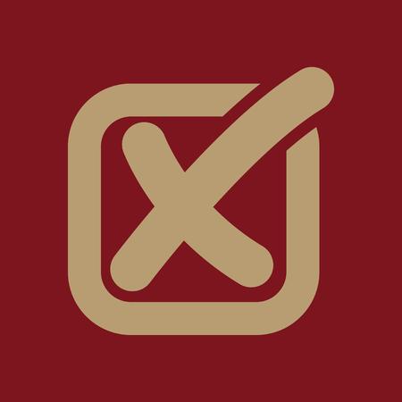 checkbox: The check icon. Checkmark and checkbox, no, voting symbol. Flat Vector illustration Illustration