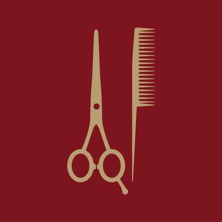 comb: The scissors and comb icon. Barbershop symbol. Flat Vector illustration