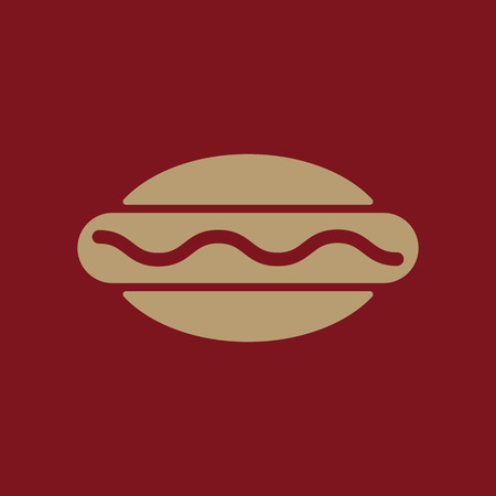 The hot dog icon. Sandwich and baking, fast food symbol. Flat Vector illustration