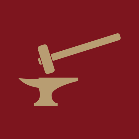 labor strong: The smithy icon. Forge and stithy, blacksmith symbol. Flat Vector illustration