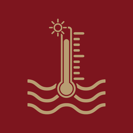 warning indicator: The warm water temperature icon. Hot liquid symbol. Flat Vector illustration