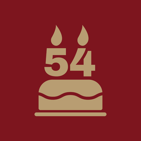 four objects: The birthday cake with candles in the form of number 54 icon. Birthday symbol. Flat Vector illustration