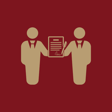 pacto: The contract icon. Agreement and signature, pact, partnership, negotiation symbol. Flat Vector illustration