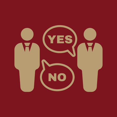 declare: The dispute icon. Dialog and negotiation, discussion symbol. Flat Vector illustration