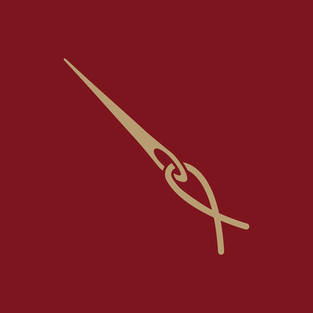 The thread with a needle icon. Tailor and sewing, needlework, clothier symbol. Flat Vector illustration