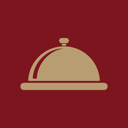 The tray station icon. Breakfast and lunch, dinner, restaurant symbol. Flat Vector illustration Illustration