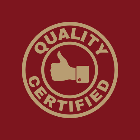 endorsed: The certified quality and thumbs up icon. Approval, approbation, certification, accepted symbol. Flat Vector illustration