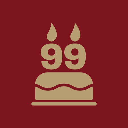 The birthday cake with candles in the form of number 99 icon. Birthday symbol. Flat Vector illustration Illustration