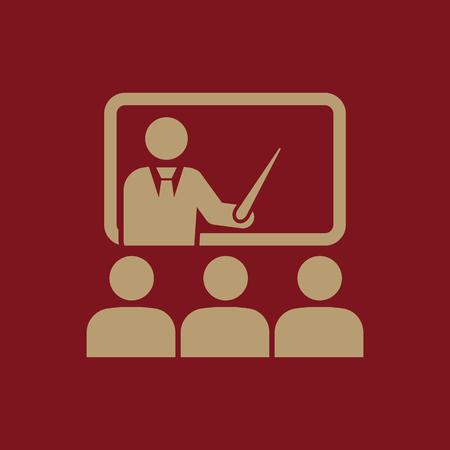 Das Trainingssymbol. Lehrer und Schüler, Klassenzimmer, Präsentation, Konferenz, Unterricht, Seminare, Bildungs ??Symbol Wohnung Vektor-Illustration Vektorgrafik