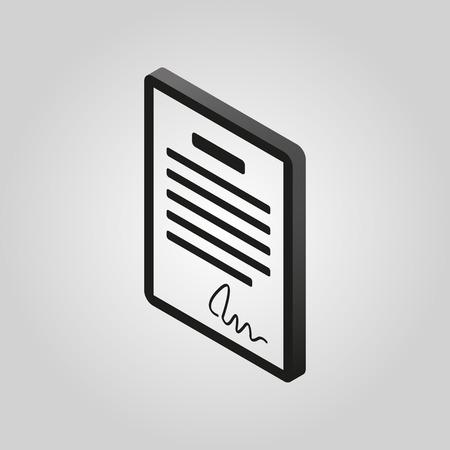 pacto: El icono del contrato. Acuerdo y firma, pacto, acuerdo, convención symbol.3D isométrica. Ilustración del vector plana