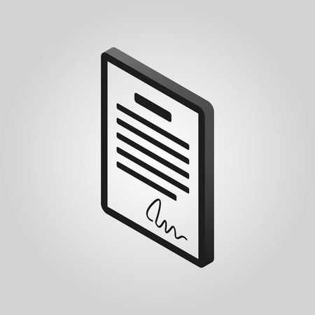 accord: The contract icon. Agreement and signature, pact, accord, convention symbol.3D isometric. Flat Vector illustration