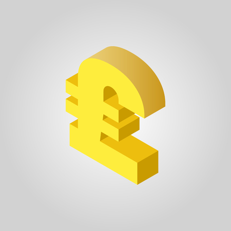libra esterlina: The pound sterling icon. Cash and money, wealth, payment, GBP symbol.3D isometric. Flat Vector illustration Vectores
