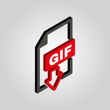 gif: The GIF icon.3D isometric file format symbol. Flat Vector illustration