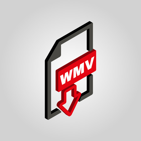 wmv: The WMV icon.3D isometric. Video file format symbol. Flat Vector illustration Illustration